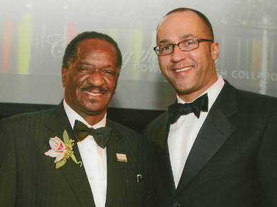 Mike Laux with Illinois Senate President Emil Jones as Mr. Jones accepts his award at Emil Jones, Celebrating a Legacy of Service, in 2008.
